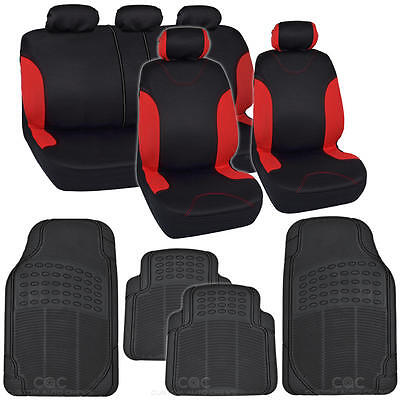 """13pc Car Seat Covers & Rubber Mats for Auto Black/Red w/ Tough Mats """"Bucatti"""""""