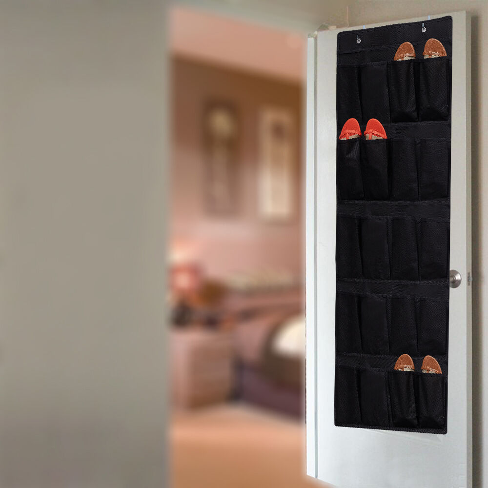 20 Pocket Over The Door Shoe Organizer Rack Hanging Storage Space