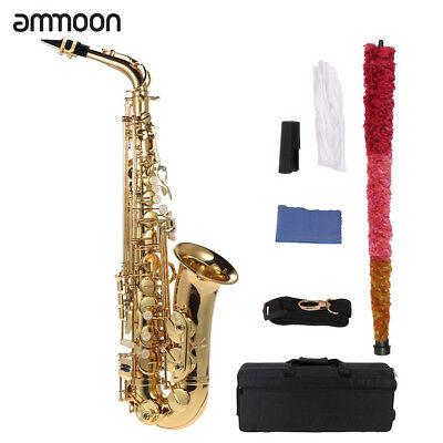 ammoon bE Alto Saxophone Brass Lacquered Gold E Flat Sax 802 Key Type +Case Hot - Flat Alto Saxophone