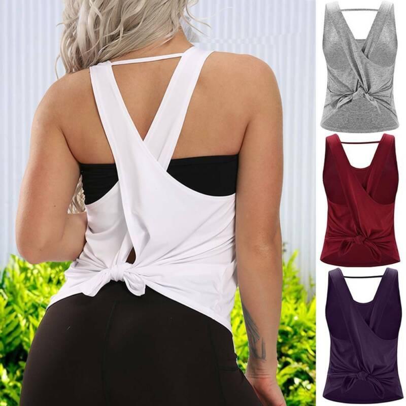 Women Yoga Tops Sports Tank Vest Open Back T Shirts Exercise Strappy Tops Gym U7 Ebay