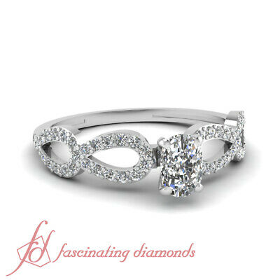3/4 Carat Cushion Cut:Very Good Diamond Pear Linked Pave Set Engagement Ring GIA