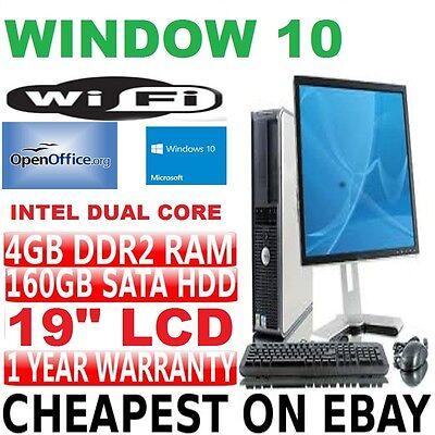 COMPLETA DELL DUAL CORE ESCRITORIO TORRE PC & TFT ORDENADOR CON WINDOWS 10 &