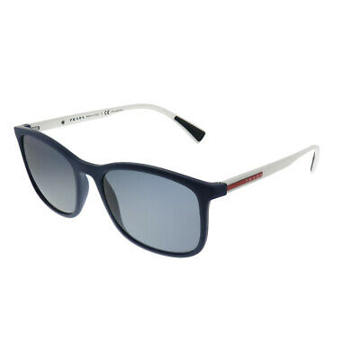 New Prada Linea Rossa PS 01TS 288255 Blue Rubber Sunglasses Grey Polarized (Prada Linea Rossa Sunglasses)