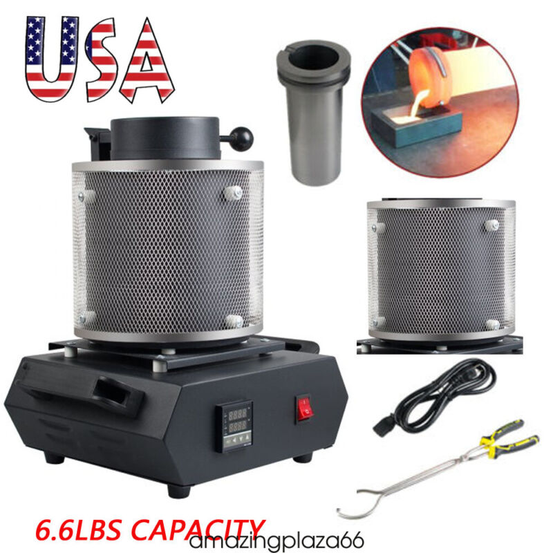 1600W 3KG Auto Electric Metal Melting Furnace Gold Silver Smelter Machine US FDA