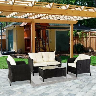 Garden Furniture - 4PC Black Wicker Cushioned Rattan Patio Set Garden Lawn Sofa Furniture Seat