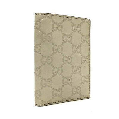 Authentic GUCCI SIMA GG Logo Pattern Light Gray Leather Bifold Wallet / 2909