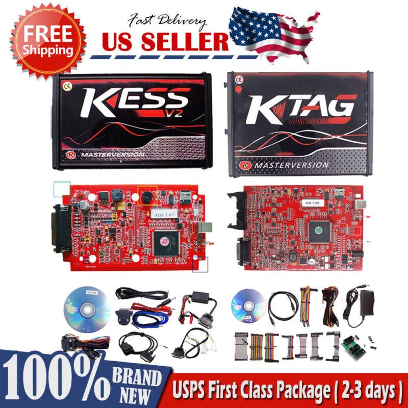 KESS V2 V5.017 KTAG V7.020 No Tokens Red Tool Kit Master Online ECU Tuning OBD