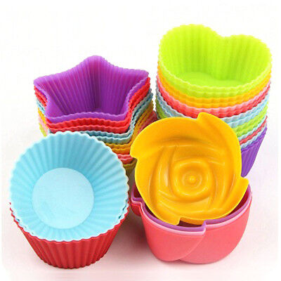 24 Muffinform Silikon Herz Muffinförmchen Mini Muffin Backform Cup Cake Farbmix Mini-muffin-form