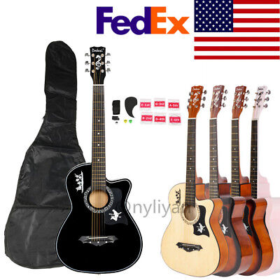 """US 38""""Beginners Adults Acoustic Classic Guitar Basswood Pick 6 Strings&Bag&Strap"""