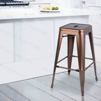 Metal Steel Bar Stools Gloss White/Bronze/Metallic