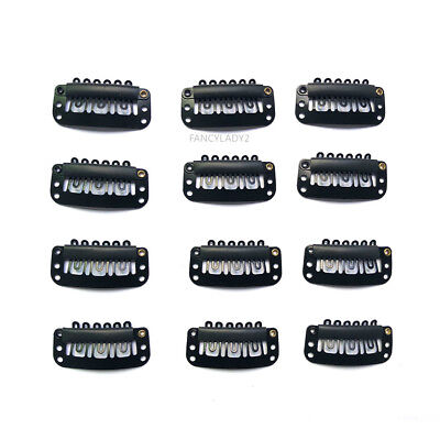 12pcs Wig Snap Metal Hair Clips For Wigs / Hair Extensions 32mm BLACK US Stock (Hair Metal Wigs)
