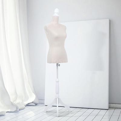 Adjustable Tripod Wood Stand Female Mannequin Torso Dress Form Linen Beige K3j5