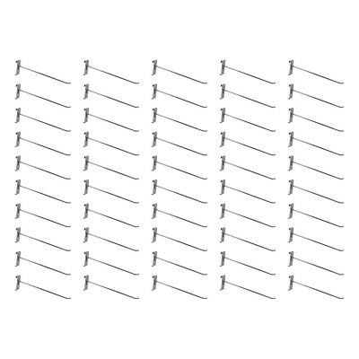 50 Pc 12 Chrome Long Grid Wall Metal Hooks Display For Use W Gridwall Panels