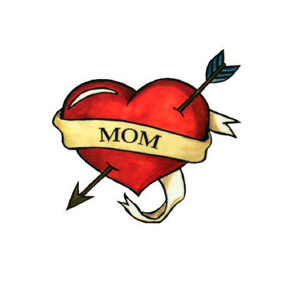 Mom Heart Tattoos (Mom Heart Temporary Tattoos (3-Pack) | Skin Safe | MADE IN THE)