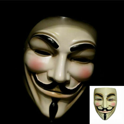 2 Pack of V for Vendetta Mask Fawkes Anonymous Halloween Cosplay Party