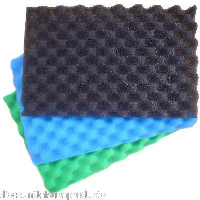 "Garden Fish Pond Media Filter Foam Sponge Set 17"" X 11"" Pads Fine/Medium/Coarse"
