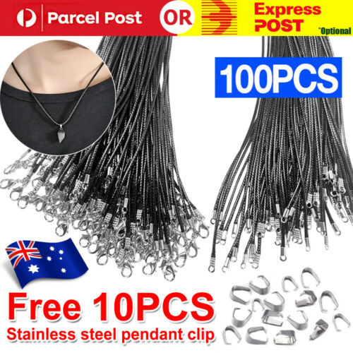 Jewellery - 100x Black PU Leather Craft Cord Rope Lobster Clasp Jewelry Pendant Necklace DIY