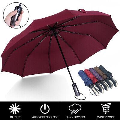 UK Umbrella 10 Ribs Automatic Open Close Folding Compact Windproof Travel