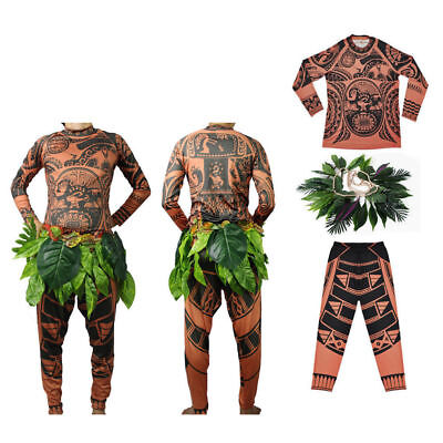 Moana Maui Vaiana Herr Kinder Kostüm Tattoo Halloween Cosplay Party Costume Set ()