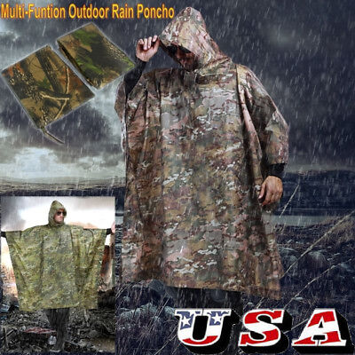 Camo Poncho (Waterproof Hooded Ripstop Camo Rain Coat Poncho Military Hunting Camping)