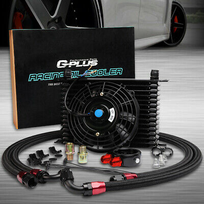 "15 Row AN-10AN Engine Oil Cooler + Filter Adapter Kit + 7"" Universal Cooling Fan"