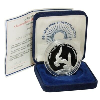 Usa New York Silver Collection Montauk Point Lighthouse 1981 Chemical Bank Proof