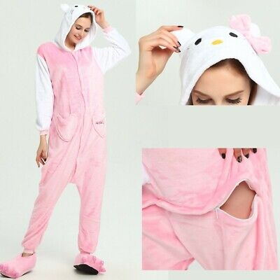 Adult/Kids Pajamas Hello Kitty Cat Kigurumi Costume for Cosplay Halloween Party