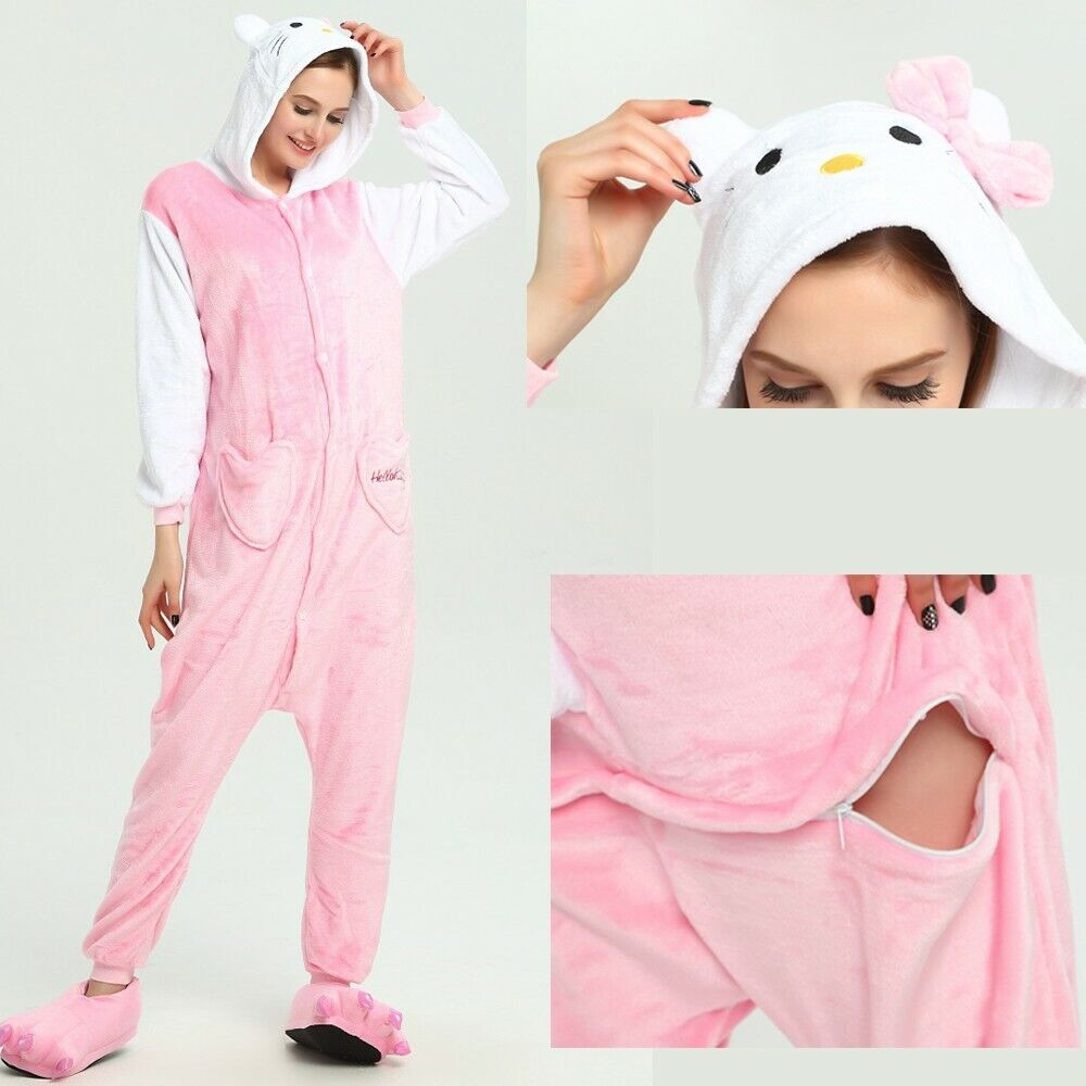 Adult/Kids Pajamas Pink Cat Kigurumi Costume for Cosplay Halloween Party