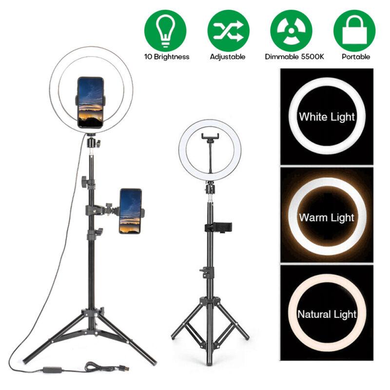 "10"" LED Ring Light with Phone Holder&Tripod Stand Kit Studio Video Beauty Selfie"