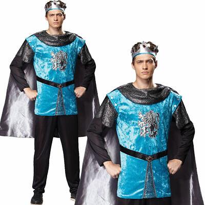 Reale Cavaliere King Costume Uomo Medievale Rinascimento Tudor Adulti Nuovo