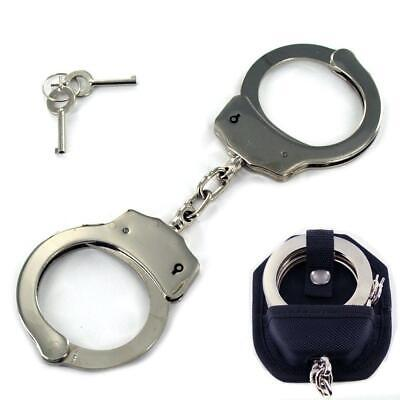 Professional Handcuffs Silver Steel Police Duty Double Lock w/ Keys and Case NEW