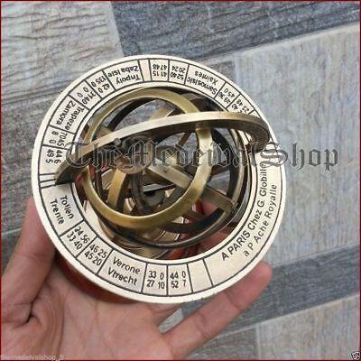 Vintage Armillary Brass Desktop Globe Sphere Wooden Base Vintage Astrolabe