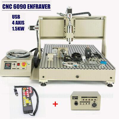 4 Axis 6090 Usb Cnc Router Engraver 1.5kw 3d Engraving Milling Machinehandwheel