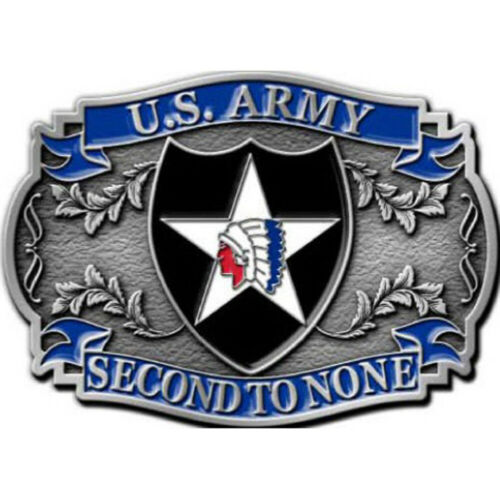 """U.S. Army 2nd Infantry Division Belt Buckle  Second To None  3 1/4"""""""