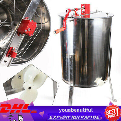 4 Frame Honey Extractor Manual Beekeeping Separation Centrifuge Stainless Steel
