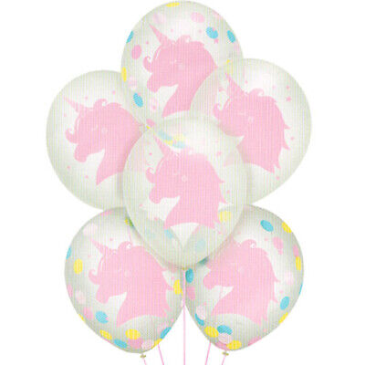 MAGICAL RAINBOW CONFETTI FILLED LATEX BALLOONS (6) ~ Birthday Party Supplies (Confetti Filled Balloons)