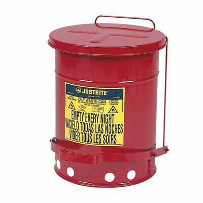 6 Gallon Justrite Foot Operated Oily Waste Can With Self-closing Cover 09100