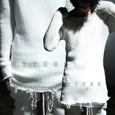 ByTheR Men Vintage Grunge Cutting Damage Slim Fit Chic White Knit Sweatshirts UK