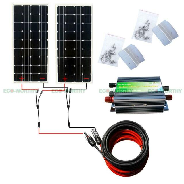 300W COMPLETE KIT: 2*160W Mono PV Solar Panel w/ Controller for 12V Boat Charger