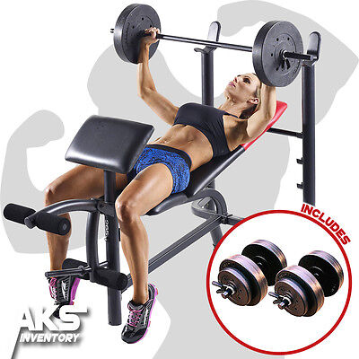 Home Gym Exercise Weight Bench & 80lb Barbell & 40lb Dumbell Free Weights Sets