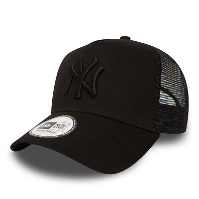 NEW ERA MENS BASEBALL CAP.NEW YORK YANKEES MLB BLACK A FRAME MESH TRUCKER HAT 74