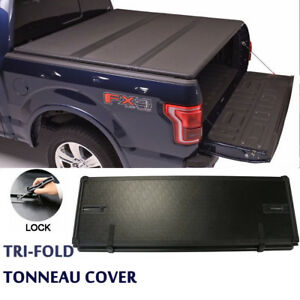Lock Hard Solid Tri-Fold Tonneau Cover For 04-18 Ford F150 F-150 5.5ft Truck Bed