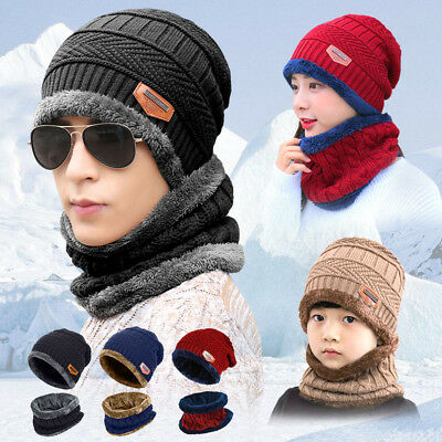(Winter Beanie Hat Scarf Set Fleece Warm Balaclava Snow Ski Cap for Kid Men Women)