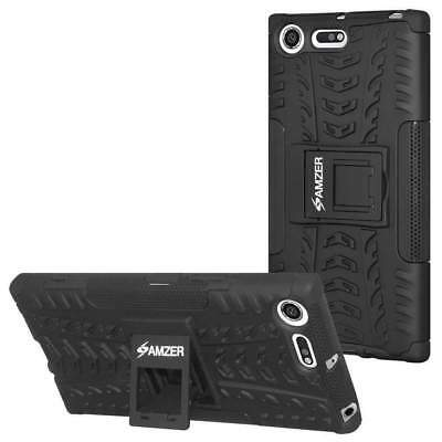 AMZER Shockproof Rugged Armor Hybrid Case Stand Cover For So