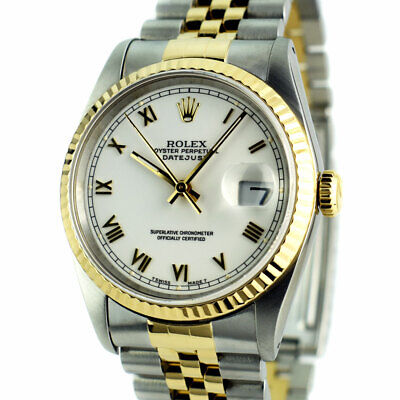 ROLEX Mens 18kt Gold & Stainless DateJust White Roman BOX BOOKS 16233 SANT BLANC