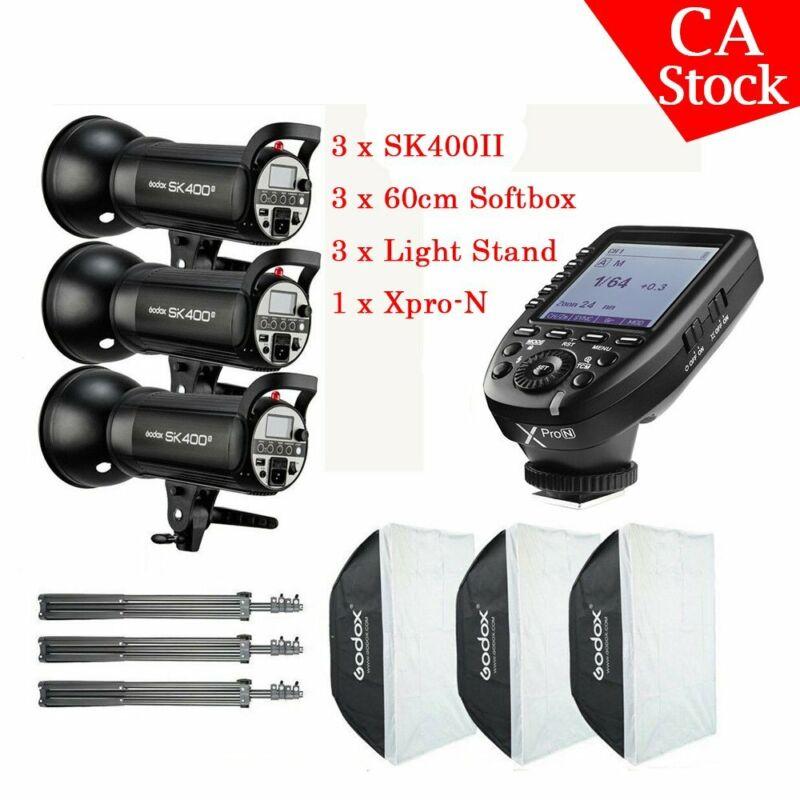 US  3X Godox SK400II 400W 2.4G HSS Studio Flash Light Stand Xpro-N For Nikon
