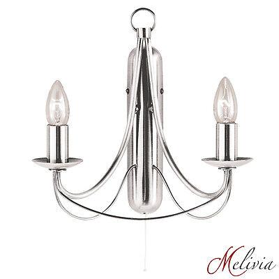 Wandleuchte Chrom Kerze (Wandleuchte Chrom Silber mit Zugschalter 2x 60W, Wandlampe Lampe Kerze Klassisch)