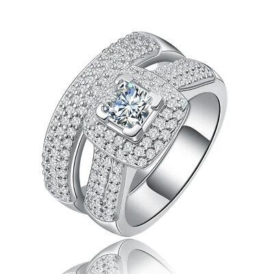 Princess Cut Pave Set - Sterling Silver CZ Princess Cut Pave Set Engagement Ring Wedding Band Set 5-10