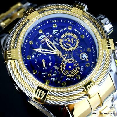 Invicta Reserve Bolt Zeus Tri-Cable Diamond 2 Tone Steel Swiss 52mm Watch New