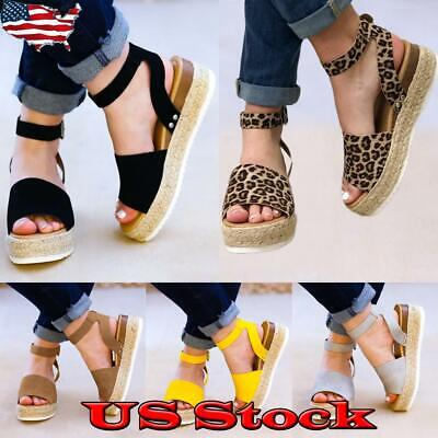 Women's Summer Sandals Ankle Strap Open Toe Casual Espadrilles Platform Shoes